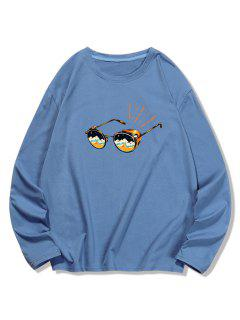 Sunglasses Printed Long Sleeves T-shirt - Blue Gray S
