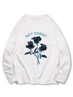 Floral Graphic Leisure Crew Neck T Shirt - White 2xl