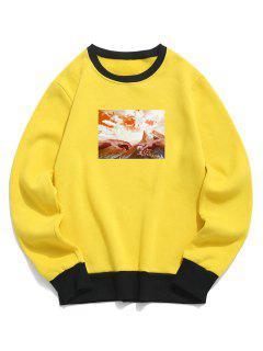 Mountain Sky Finger Pattern Colorblock Fleece Sweatshirt - Yellow Xl