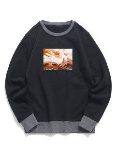 Sweat-shirt Motif De Ciel Montagne En Blocs De Couleurs En Laine - Noir Xl