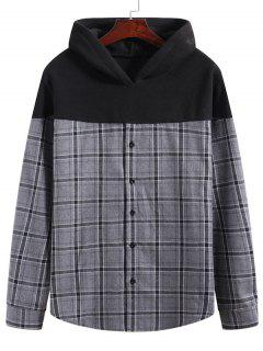 Grid Print Button Up Fleece Patch Hoodie - Multi-a M
