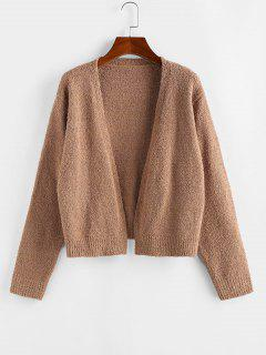 ZAFUL Open Front Plain Cardigan - Coffee S