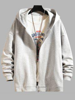 Zip Up Hanzi Print Oriental Hoodie Jacket - Platinum 2xl