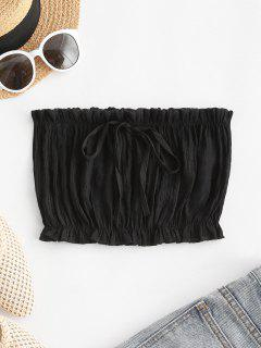 Ruffle Hem Bowknot Beach Bandeau Top - Black