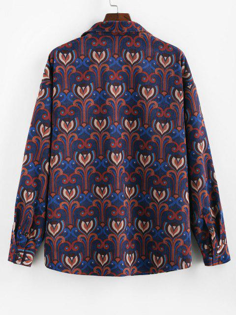 women's ZAFUL Tribal Pattern Long Sleeve Pocket Shirt - MULTI 2XL Mobile