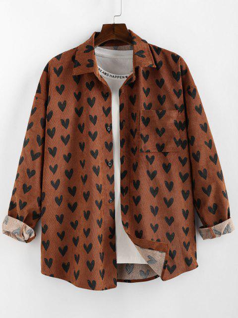 ladies ZAFUL Heart Pattern Pocket Long Sleeve Shirt - COFFEE S Mobile
