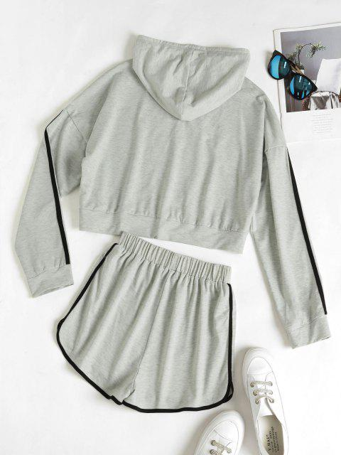 new Hooded Drop Shoulder Contrast Tape Dolphin Shorts Set - LIGHT GRAY XL Mobile