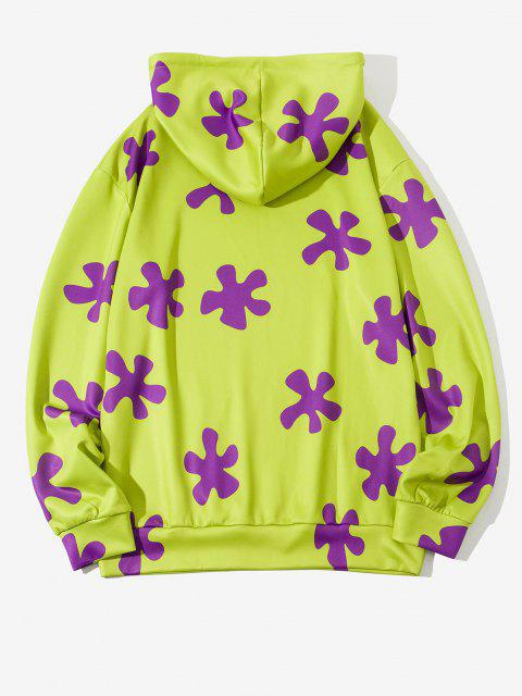 Sweat à Capuche Décontracté Fleur Imprimée avec Poche à Cordon - Vert Jaune XL Mobile