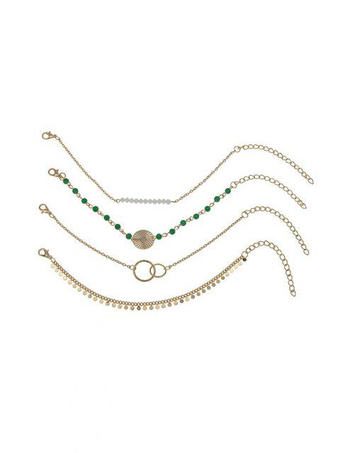 online 4 Pcs Discs Circle Shape Beaded Bracelets Set - GOLDEN  Mobile