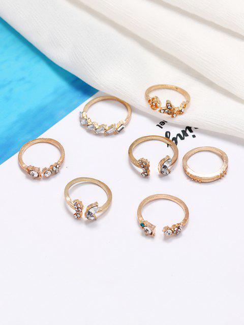 women 7Pcs Butterfly Floral Rhinestone Ring Set - GOLDEN  Mobile
