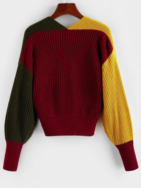 women Plunge Colorblock Twist Sweater - MULTI-E S Mobile