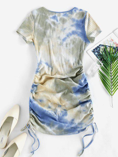women ZAFUL Cinched Tie Dye Ribbed Bodycon Dress - LIGHT BLUE L Mobile
