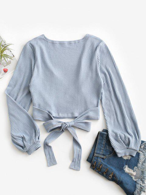 chic Knit Long Sleeve Wrap Top - BLUE M Mobile