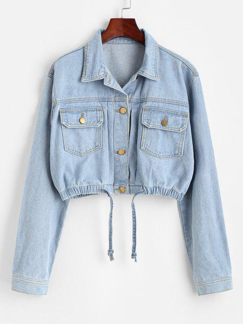 womens Cropped Drawstring Hem Denim Jacket - LIGHT BLUE XL Mobile