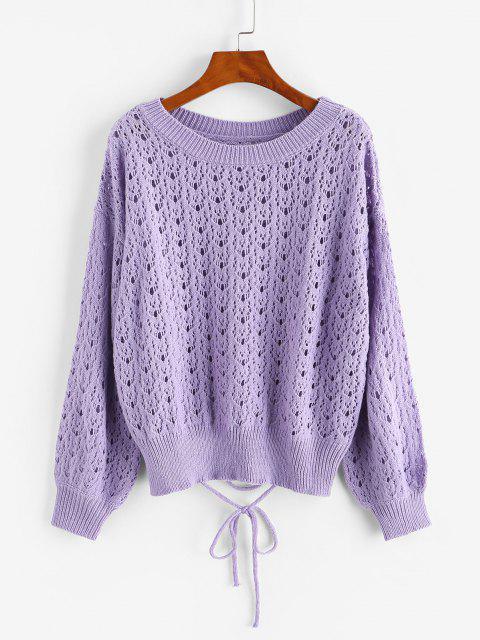 クルーネックレースアップPointelleTシャツ - 紫 ワンサイズ Mobile