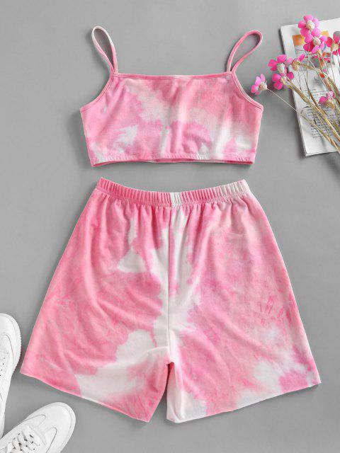 ZAFUL Tie Dye Cami Biker Shorts Set - وردي فاتح L Mobile