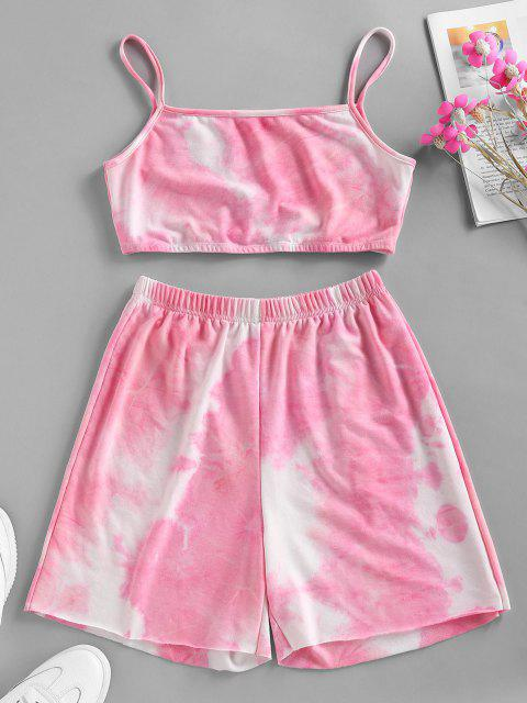 ladies ZAFUL Tie Dye Cami Biker Shorts Set - LIGHT PINK XL Mobile