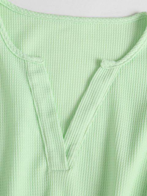 womens V Notch Drop Shoulder Knitted Shorts Set - LIGHT GREEN XL Mobile