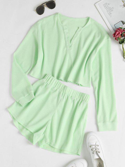 sale V Notch Drop Shoulder Knitted Shorts Set - LIGHT GREEN M Mobile