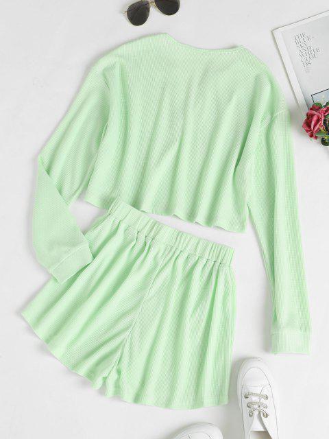 online V Notch Drop Shoulder Knitted Shorts Set - LIGHT GREEN S Mobile