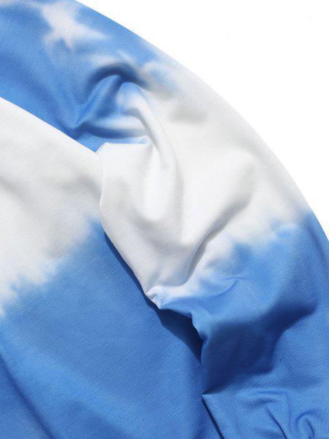 women's ZAFUL Tie Dye Letter Print Sweatshirt - BLUE L Mobile