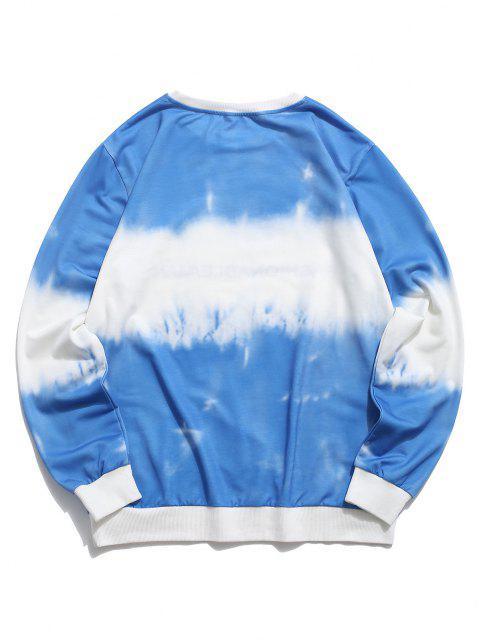 ladies ZAFUL Tie Dye Letter Print Sweatshirt - BLUE XL Mobile