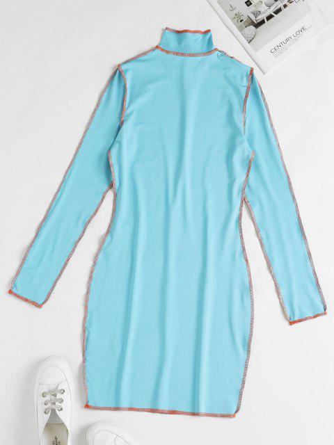 Vestito Aderente con Impuntura e Collo Alto - Blu Dodger  S Mobile