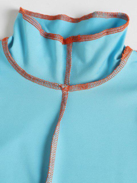 Vestito Aderente con Impuntura e Collo Alto - Blu Dodger  L Mobile