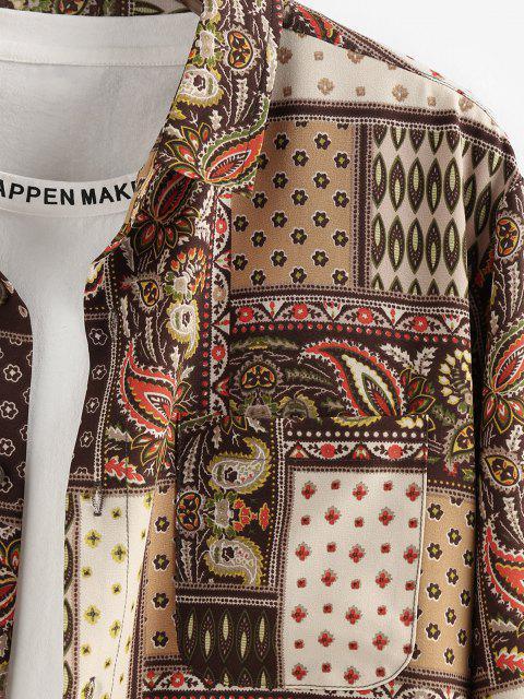 ZAFUL Bohemian Patchworkdruck Langarm Tasche Hemd - Multi 2XL Mobile