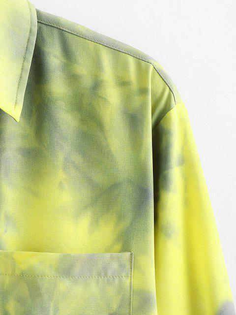 sale ZAFUL Tie Dye Print Long Sleeve Pocket Shirt - YELLOW M Mobile