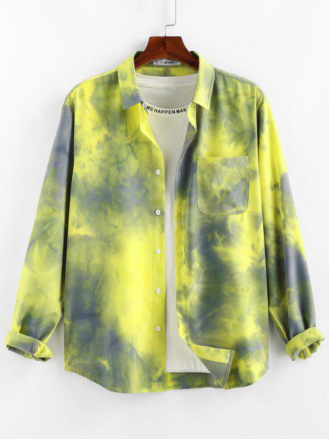 affordable ZAFUL Tie Dye Print Long Sleeve Pocket Shirt - YELLOW L Mobile