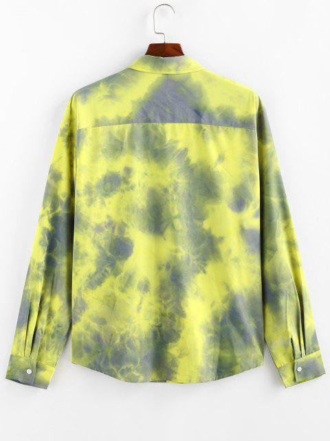 buy ZAFUL Tie Dye Print Long Sleeve Pocket Shirt - YELLOW XL Mobile