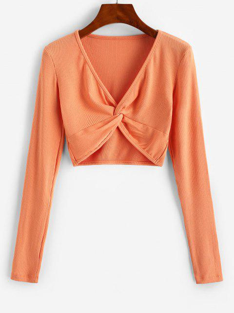 womens Twist Front Ribbed Cropped Knitwear - ORANGE S Mobile