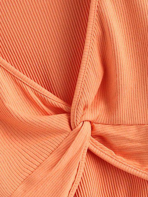 unique Twist Front Ribbed Cropped Knitwear - ORANGE M Mobile