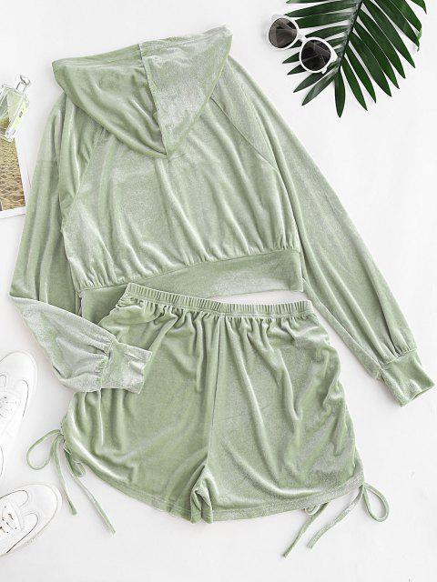Velour Cinched Two Piece Shorts Set - اخضر فاتح M Mobile
