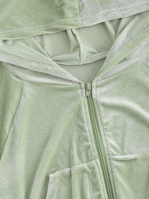 chic Velour Cinched Two Piece Shorts Set - LIGHT GREEN M Mobile
