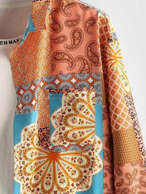online ZAFUL Paisley Flower Patch Print Long Sleeve Shirt - DEEP YELLOW XL Mobile