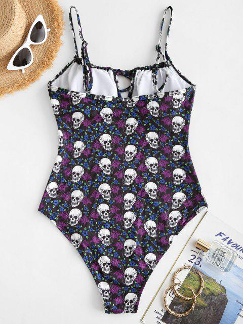 women's ZAFUL Halloween Skull Bat Floral Ribbed One-piece Swimsuit - BLACK L Mobile