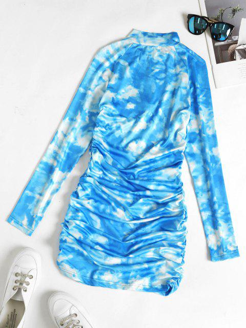 hot Zip Placket Tie Dye Ruched Bodycon Dress - DEEP SKY BLUE M Mobile