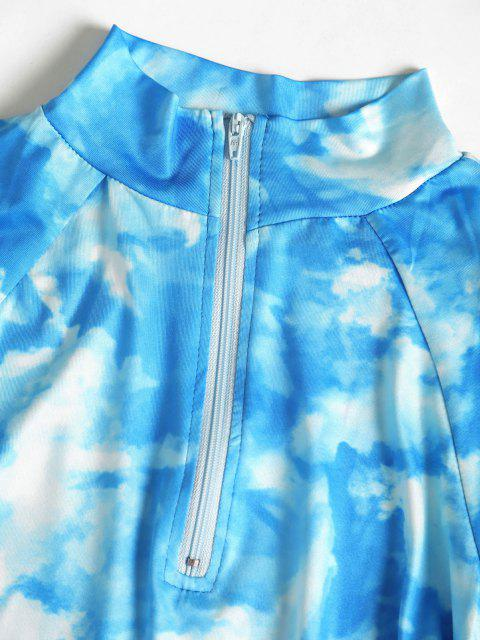 fancy Zip Placket Tie Dye Ruched Bodycon Dress - DEEP SKY BLUE S Mobile