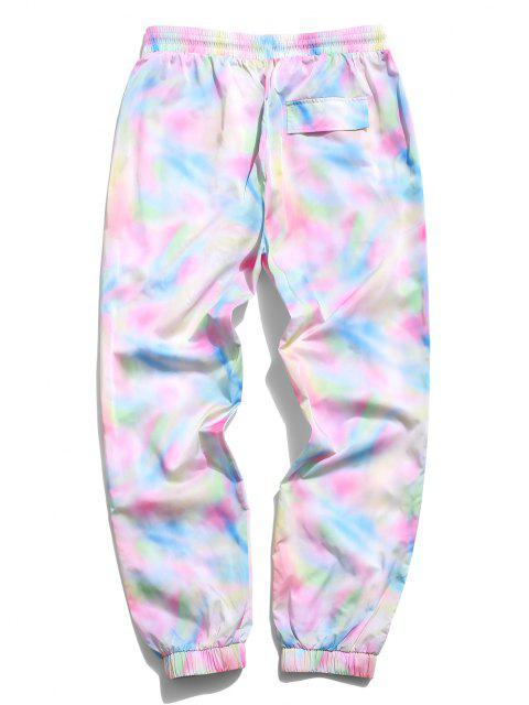 women's ZAFUL Tie Dye Rainbow Letter Print Pants - LIGHT PINK XL Mobile