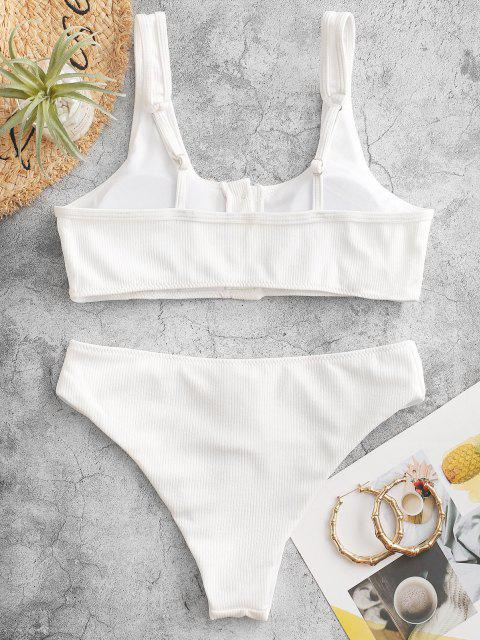 Gepolsterte Gerippte Strukturiertes Knöpfe -Bikini -Set - Weiß L Mobile