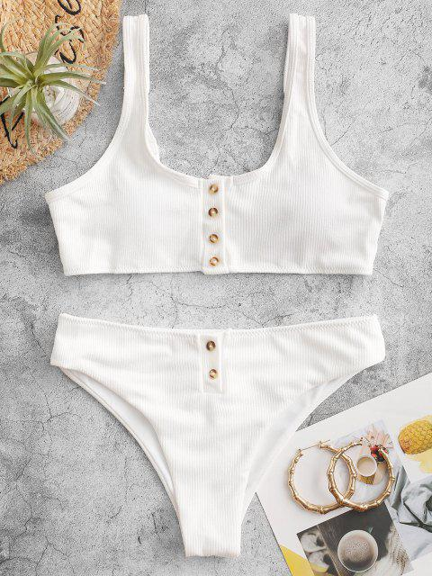 chic Padded Ribbed Texture Buttons Bikini Set - WHITE S Mobile