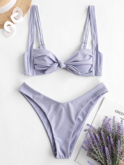 new ZAFUL Pleated High Cut Ribbed Bikini Swimwear - LAVENDER BLUE S Mobile