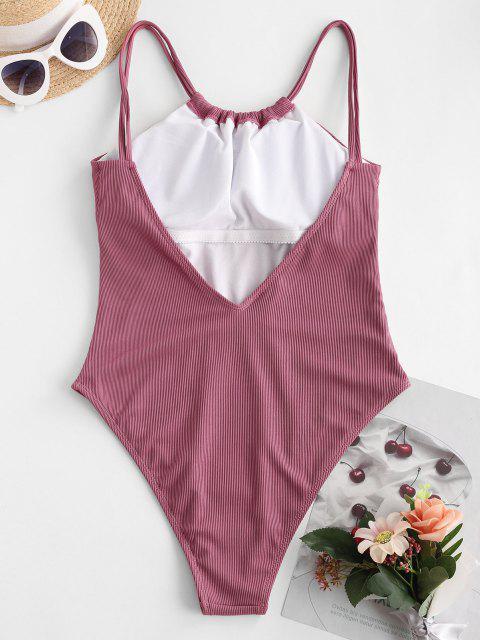 Costume Intero di ZAFUL a Costine con Spalline - Rosa chiaro S Mobile