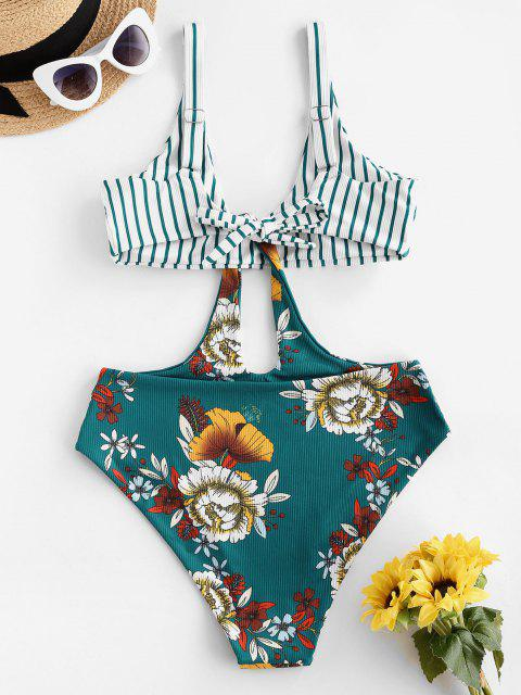 hot ZAFUL Ribbed Striped Flower Cutout Trikini Swimsuit - DEEP GREEN S Mobile