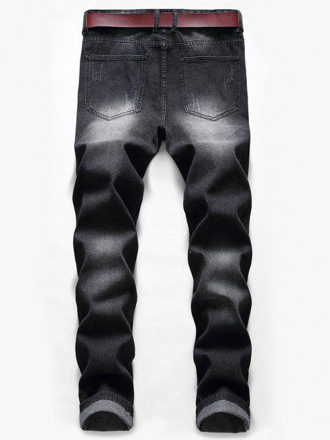 women's Skull Paint Patchwork Scratch Long Jeans - BLACK 38 Mobile