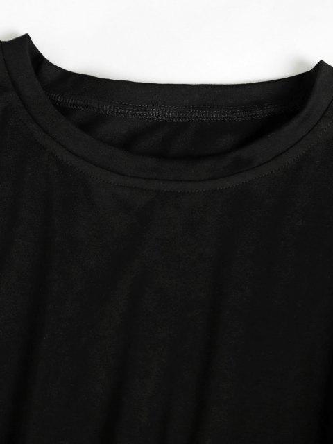 latest Brief T-shirt and Tie Waist Sweatpants Set - BLACK L Mobile