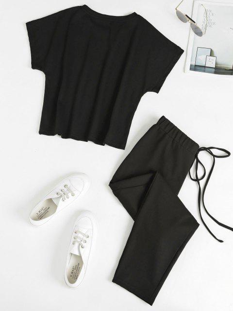 Brief T-shirt and Tie Waist Sweatpants Set - أسود S Mobile