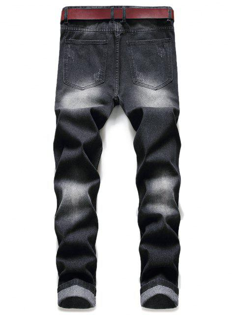 ladies Distressed Ripped Patchwork Scratch Long Jeans - BLACK 36 Mobile